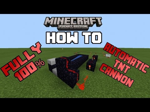 How To Make A Fully Automatic TNT Cannon In MCPE 0.13.1 |Minecraft PE (MCPE) How To #17