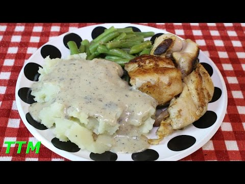 Stovetop Fried Boneless Skinless Chicken Thighs and Gravy~Easy Chicken Dinner Idea