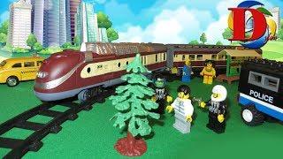 Мультфильмы про машинки. Полицейская машинка Едем на поезде. ЛЕГО мультики для детей. Трамвай