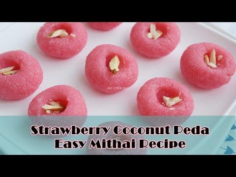 Strawberry Coconut Peda NO MAWA/CONDENSED MILK | Easy Mithai Recipe | Magic of Indian Rasoi