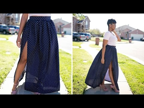 DIY Tutorial: Maxi Skirt with High Split