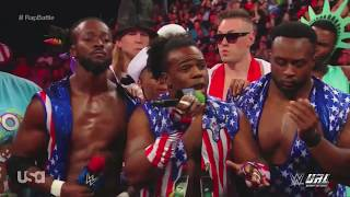 RapBattle Big E/ Kofi Kingston/ Xavier Woods VS Jimmy Uso/ Jey Uso