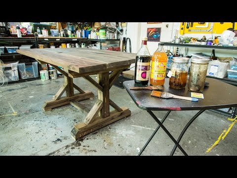 Paige Hemmis' Rustic DIY Tea Stained Table