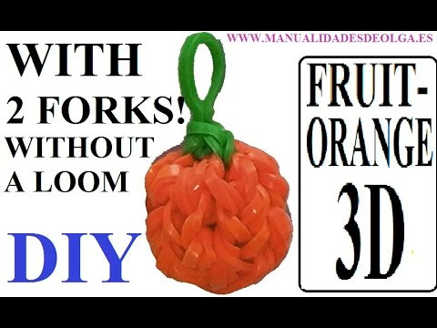 Orange 3D Charm With two forks without Rainbow Loom Tutorial. (Mini fruit)