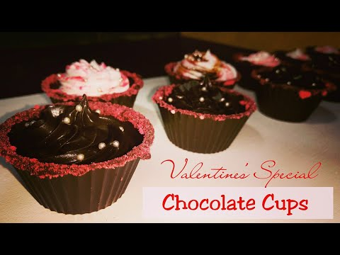 Chocolate Cups with Chocolate Mousse |Chocolate Dessert |How to make Chocolate Cups  |