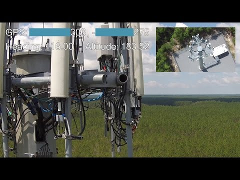 Two Drone Cell Phone Tower Inspection with GPS and Heading Values