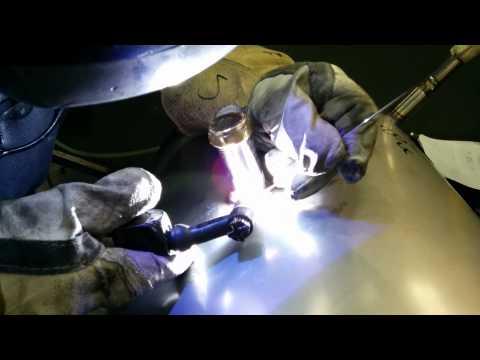 Tig welding a Duplex cylinder.