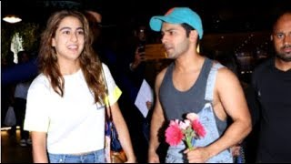 Sara Ali Khan & Varun Dhawan Look CUTE Together As They ARRIVE From Coolie No 1 Movie Shoot