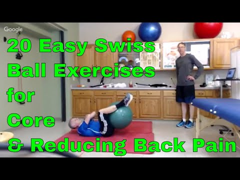 20 Easy Swiss Ball Exercises for Core & Reducing Back Pain. New Shoulder/Leg Exercises Included.