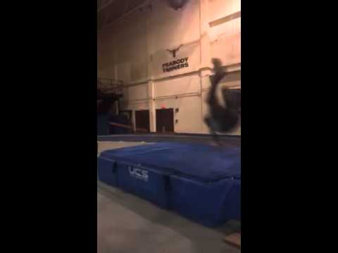 Stud high jumper misses mat.