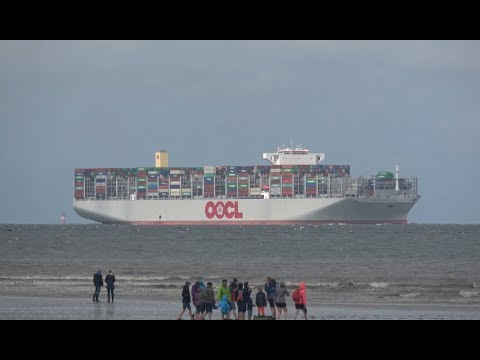 World´s largest Container Ship OOCL Hong Kong maiden call Wilhelmshaven