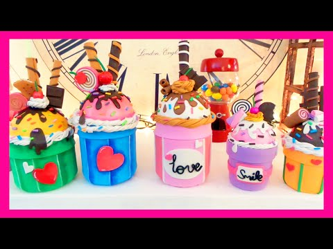 DIY crafts how to ice cream cupcake with EVA foam recycled glass jars - handmade - Youtube - Isa ❤️