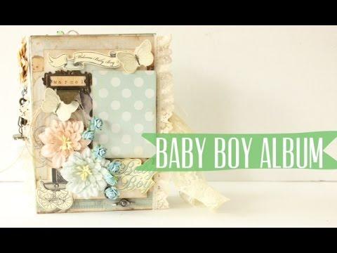 Vintage Baby Boy Mini Album Scrapbook