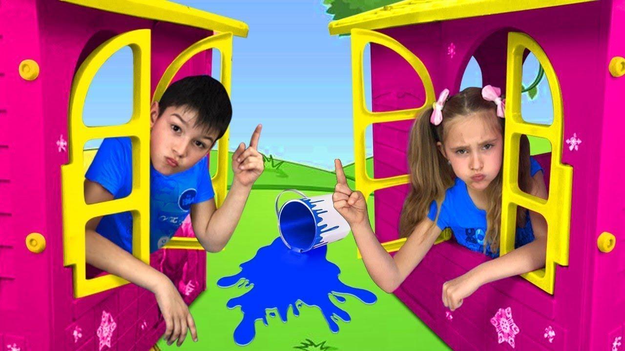 Sasha y una compilación de casitas de colores