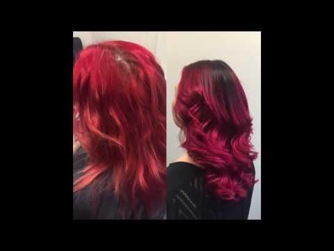 Balayage Dark roots w/ Vibrant Red ombre. Aveda Color, Brazilian B3 Bondbuilder