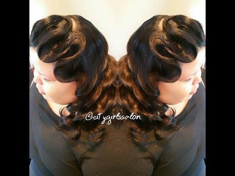 Hollywood Classic Vintage Soft Push Waves Long hair Tutorial
