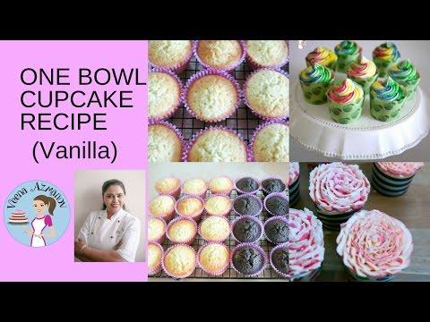 One Bowl Vanilla Cupcake - Quick Vanilla Cupcakes Recipe