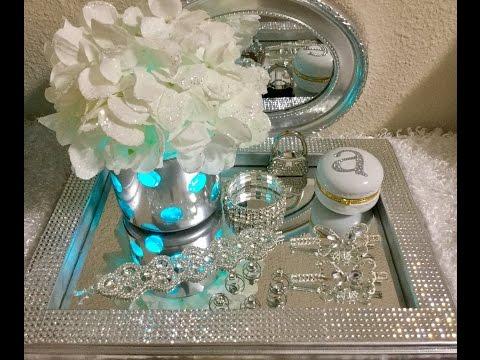 Silver Vanity Tray with Rhinestones DIY