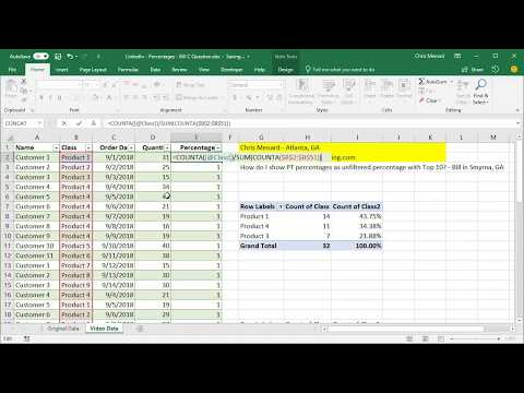 PivotTable Percentages - Show unfiltered percentage when filtering a PT by Chris Menard
