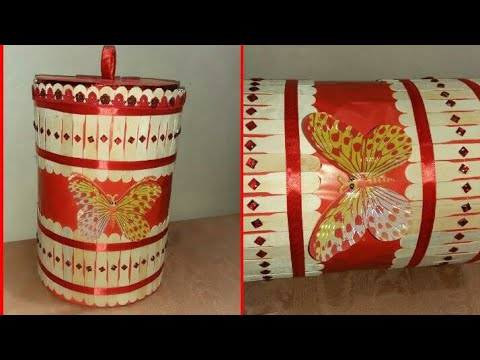 Diy How to Make Old Container Convert to Beautiful dustbin/Beautiful Jewllary Box