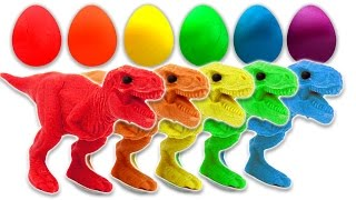 Learn Colors with Dinosaurs Play Doh Surprise Eggs for Children and Toddlers