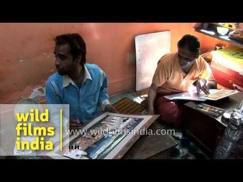 Artists work on miniature painting - Jaipur, Rajasthan