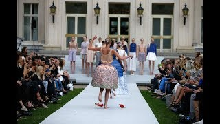 Models trip and lose their shoes during Marina Hoermanseder fashion shows