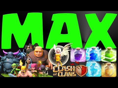 CLASH OF CLANS ALL MAX TROOPS & SPELLS MAXED LABORATOR