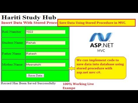 Insert Data into Database with Stored Procedure in Asp.Net MVC C#   Hindi   Free Online Learn Class
