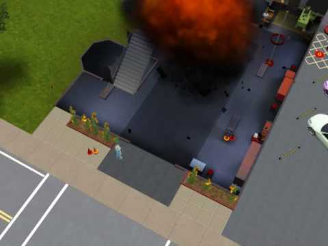 The Sims Ambitions- Blowing a Fire Truck Up