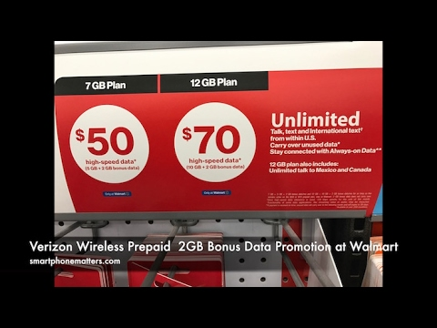 Verizon Wireless Prepaid  2GB Bonus Data Promotion at Walmart