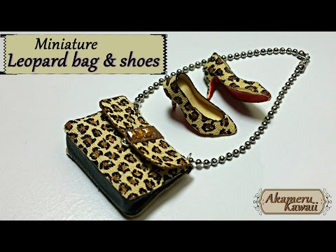 Miniature leopard handbag & shoes - polymer clay/fabric tutorial