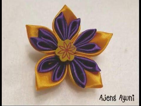 DIY  Kanzashi Flower Brooch Satin Ribbon Tutorial - Bros Dari Pita Satin