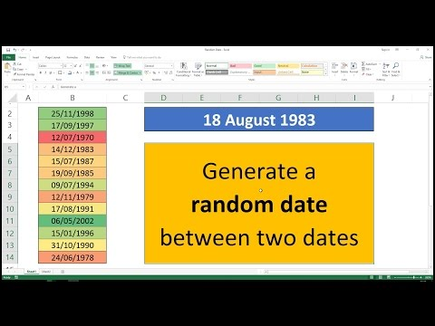 Generate A Random Date Between Two Dates In Excel