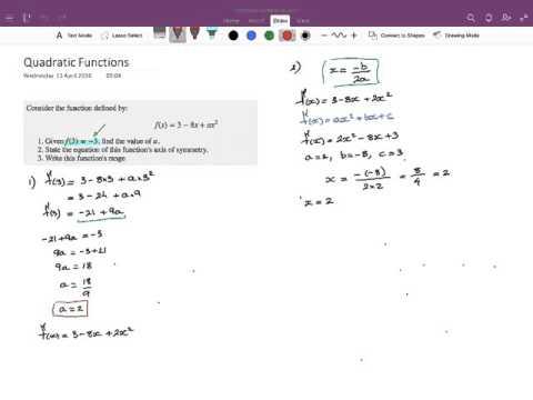 IB Math Studies Exam Type Question Quadratic Functions
