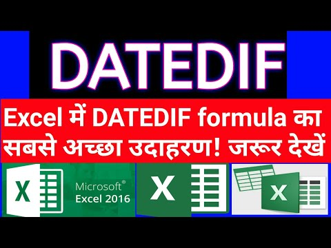 DATEDIF formula in excel sheet