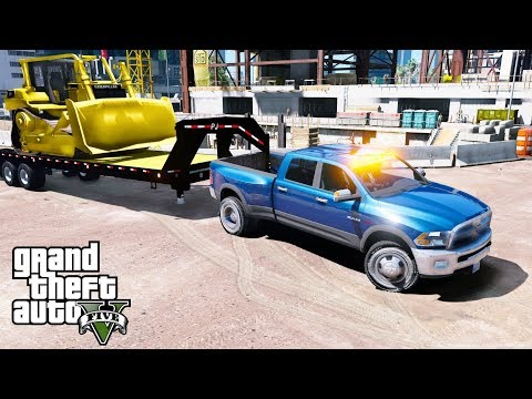 GTA 5 REAL LIFE MOD - ANOTHER DAY AT WORK #38 Delivering A Brand New Caterpillar Bulldozer To A Site