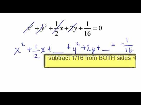 complete the square to find the center and radius of a circle