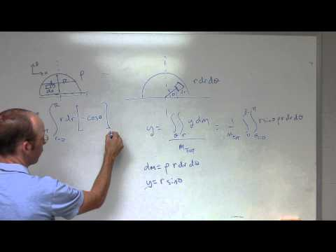 Find the center of mass of a half-circle
