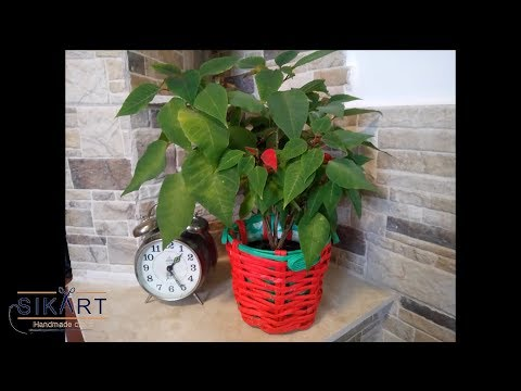DIY How to Decorate  an Old Pot for Christmas Flower using Old News papers and Crepe Paper