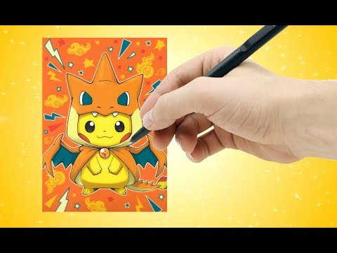 How To Easily Draw Cute Pikachu In Charizard Costume! - How To Draw Pokemon