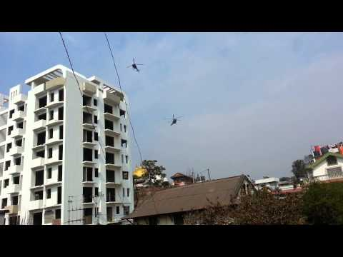 Nepalese Army Air Service Helicopters flying over Kathmandu 2015