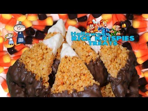 How to make Halloween Rice Krispies Treats!  ~ Candy Corn Rice Krispie Treats