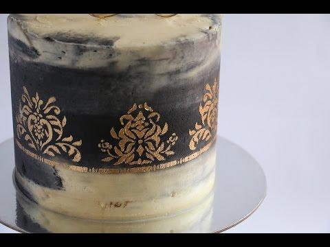 Gold Stencil on Watercolour Black and White Cake- Rosie's Dessert Spot