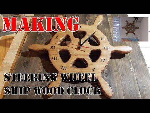 How to make steering wheel ship wood clock / Настенные часы-штурвал