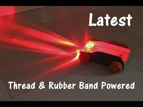 How to Make a Thread and Rubber Band Powered Car with lights - Project Work for Children