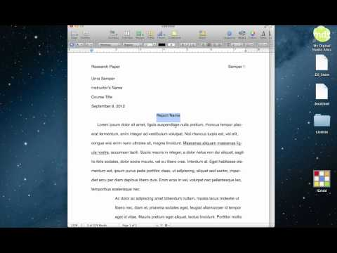 MLA Formatting Using a Built-in Template in Pages (Macintosh)