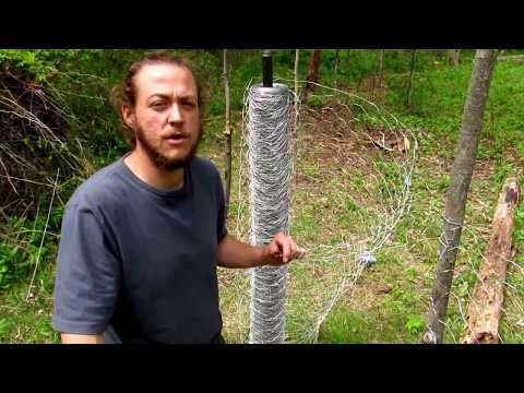 DIY low cost chicken wire fence with home made fence posts for garden
