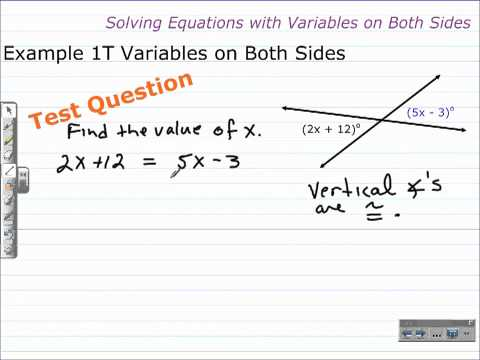 Unit 1 Lesson Topic 6 - Part 1 - Solving Equations with Variables on Both Sides