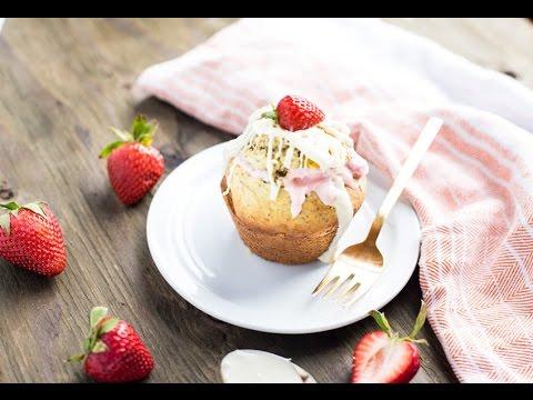 Meyer Lemon Muffins Stuffed With Strawberry Cheesecake